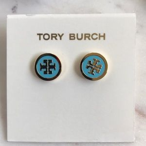 NWT Tory Burch lacquered logo studs